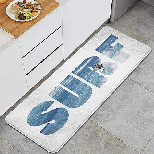 DYCBNESS Küchenteppiche,Riesige majestätische Ozeanwellen, die Surfer auf Hawaii Adrenaline Epic Athlet Sea Pacific reiten,Waschbar rutschfest Küchenmatte Küche Fußmatte Badematten Set 45X120cm