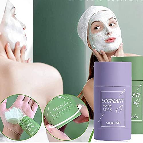 Mascarilla de barro purificadora profunda de té verde/berenjena, absorbe la suciedad en profundidad, limpia los poros, nutre la piel entera, adecuada para hombres y mujeres de todo tipo de piel