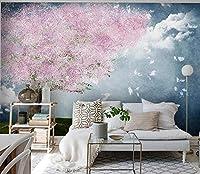 XSJ 壁紙カスタム3d壁画手描きピンクの花芸術的な構想風景テレビソファ背景壁紙-350 * 250センチ