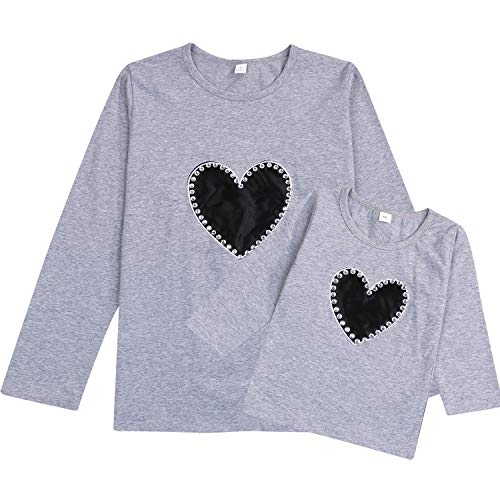 Mommy and Me Shirts Love Heart Long Sleeve T-Shirt Tops Blouse Family Matching Outfit Clothes (Grey...