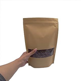 SumDirect 50pcs 18x26CM Milky Kraft Stand Up Bolsas de alimentos para almacenar Zip Lock Bolsas de empaque reutilizables con ventana transparente y muesca de rasgadura espesan por calor sellable