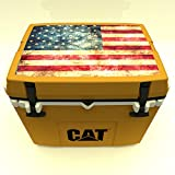 Caterpillar Cat Cooler with American Flag Lid Graphic, Cat Yellow, 27 quart