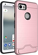 Fit Google Pixel 2 XL Armor Case with Card Holder and Kickstand Hard Drop Protection Wire Drawing Pixel2 XL Shockproof Cover