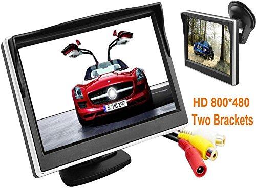 BW 5 Zoll-Digital-Farbe TFT-LCD Auto-Monitor-Auto-Ansicht-Monitor HD 800 * 480 Hoch-Auflösung mit zwei Haltewinkeln und zwei Videoeingang, farbenreiche LCD-Hintergrundbeleuchtung-Anzeige für Auto-Rückseiten-Unterstützungskameras / Auto DVD / VCD / GPS / andere Videoausrüstung