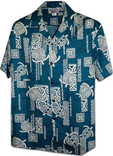 Pacific Legend Polynesian Honu Men's Hawaiian Shirt 3856Blue XL