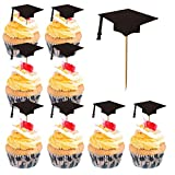 Graduation Cupcake Toppers, Timeek 60 PCS Graduation Cake Toppers Grad Bachelor Cap Toppers Picks with Toothpick for Graduation Party Cake Food Decoration