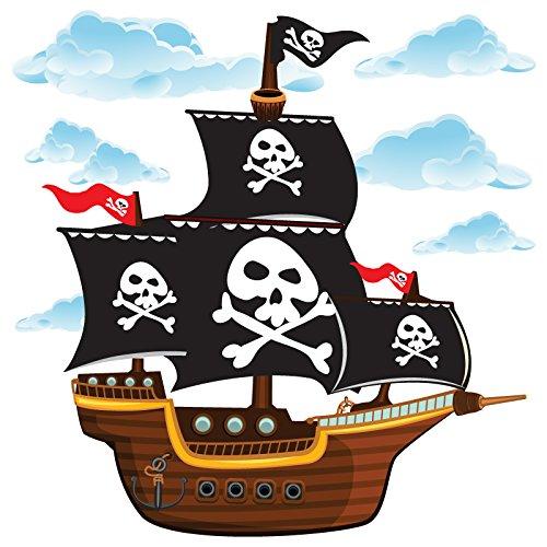 Pegatina de pared con barco pirata.