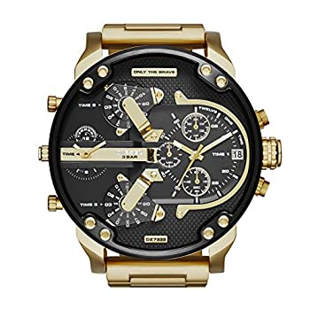Diesel Men s 57mm Mr Daddy 2.0 Quartz Stainless Steel Chronograph Watch Color  Black/Gold  Model  DZ7333