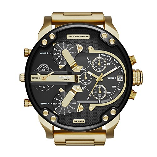 Diesel Men's Mr. Daddy 2.0 Quartz Stainless Steel Multifunction Watch, Color: Gold (Model: DZ7333)