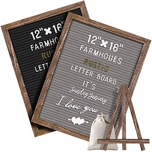 Gelibo Double Sided Letter Board with 750 Precut White & Gold Letters,Months & Days & Extra Cursive Words, Wall & Tabletop Display, Letter Bags, Scissor 10x10in (Brown Rustic 16x12 Gray1)