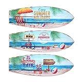 CAPRILO Set de 3 Adornos Pared Decorativos Surf Summer Cuadros y Apliques. 20 x 60 x 0.8 cm.