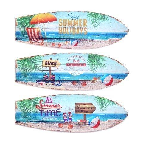 CAPRILO Set 3 Adornos Pared Decorativos Surf Summer