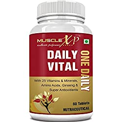MuscleXP Daily Vital Multivitamin With 25 Vitamins & Minerals, Best Multivitamin For Men 5 Super Antioxidants & Ginseng