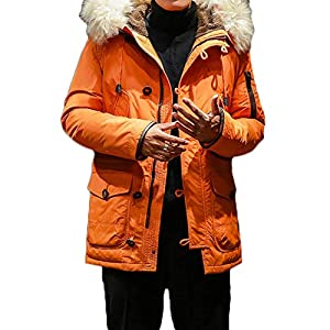 Men's Classic Fur Collar Hooded Warm Fleece Lined Down Jackets and Co...