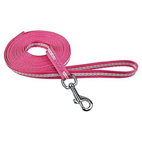 Schleppleine Micro 7,5 m pink mit grauen Reflexstreinen für kleine bis sehr kleine Rassen und Welpen 2-7 kg