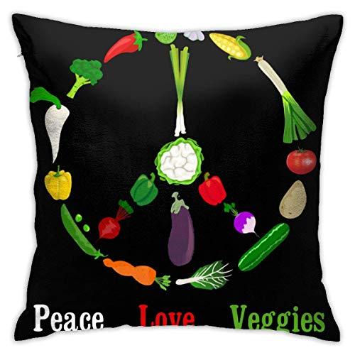 REAlCOOL Peace Love Veggies - Funda de cojín cuadrada (45,7 x 45,7 cm)