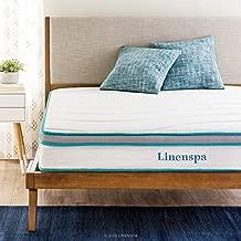 Linenspa 8 Inch Memory Foam and Innerspring Hybrid Medium-Firm Feel-Full Mattress, White