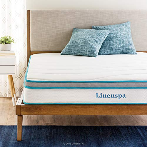 Linenspa 8 Inch Memory Foam and Innerspring Hybrid Medium-Firm Feel-Queen Mattress, White