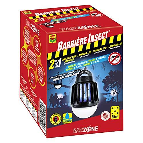 Compo Barrera de Insectos Nomadic antimosquitos 2 en 1, Bombilla con 3 Niveles de Intensidad, Resistente al Agua, Incluido Cable USB, Negro, 13.5 x 9.7 x 9.5 cm