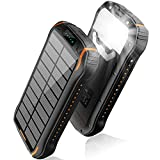 elzle Chargeur Solaire 26800mAh, Solar Power Bank 15W (5V / 3A) Sortie Charge Rapide étanche à l'eau (Deux Sorties USB 3.1A et Une Sortie Type-C) et Lampe de Poche à Del pour iOS, Samsung Galaxy, etc