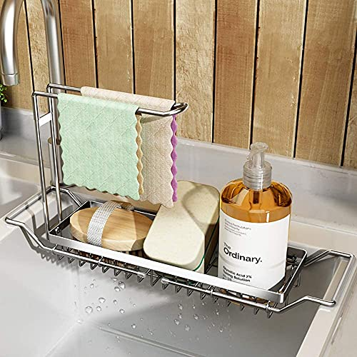 304 Stainless Steel Telescopic Sink Caddy Sponge Holder,Expandable Kitchen Sink Organizer Dish Drainer Rack Sink Tray Brush Soap Holder(16.7''- 21.3'') ,Silver