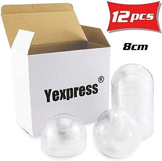 Yexpress 12pcs 80mm Clear Plastic Fillable Ball Ornament, DIY Plastic Ball, Bath Bomb Crafting Mold, Christmas Wedding Party Decor