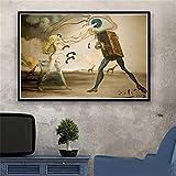 DERFV Pintura de Pared de Arte Surrealista de Dali para decoración del hogar, póster Retro, Pintura de Lienzo de Arte Realista