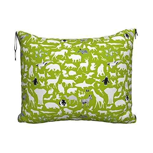 Manta de viaje portátil 2 en 1 para sofá de avión, para coche, oficina, hogar, dormir, siesta, Reino de animales, color blanco sobre Chartreuse