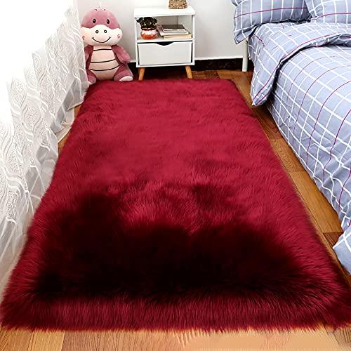Alfombra de lana de seda, alfombra de lana larga teñida, tamaño grande, alfombra suave, mullida, decoración moderna del hogar para dormitorio, habitación infantil, sala de estar (vino tinto,60x150cm)