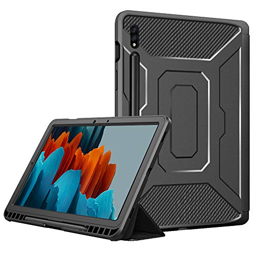 TiMOVO Case for All-New Samsung Galaxy Tab S7 11 Inch Tablet 2020 (SM-T870/T875), [Built-in Screen Protector] Slim Trifold Cover with Pen Holder & Auto Sleep/Wake Fit Galaxy Tab S7 Tablet, Black
