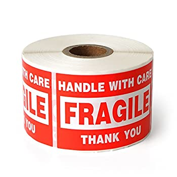 Fragile - 2 x3  Handle with Care Shipping Stickers 500 Labels Per Roll