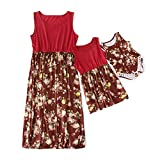 IFFEI Mommy and Me Dress Matching Outfits Floral Printed Sleeveless Tank Maxi Dress for Mother and Daughter 4-5 Years