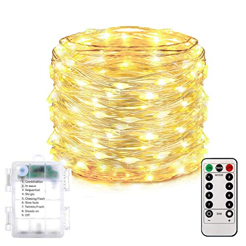 Homemory 200 LED Fairy Lights with Remote, 66FT Battery Operated Long String Lights, 8 Modes Copper Wire Halloween Twinkle Lights Waterproof Christmas Lights, Indoor&Outdoor Decor, Warm White