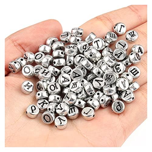 BOSAIYA EA01 200 / 400PCS Carta Rusa Mixta Beads acrílicos Alfabeto Plano Redondo Cuentas de corazón para joyería Pulsera DIY a Mano Tl0503 (Color : 6, Item Diameter : 400pc)
