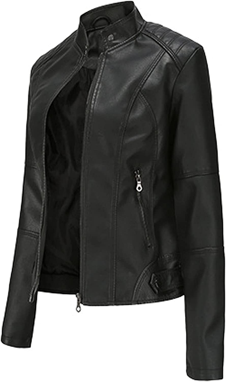 Hzikk Women Leather Jackets Slim Stand-Up Collar Zip Up Short Biker Jackets PU Blazers Coat