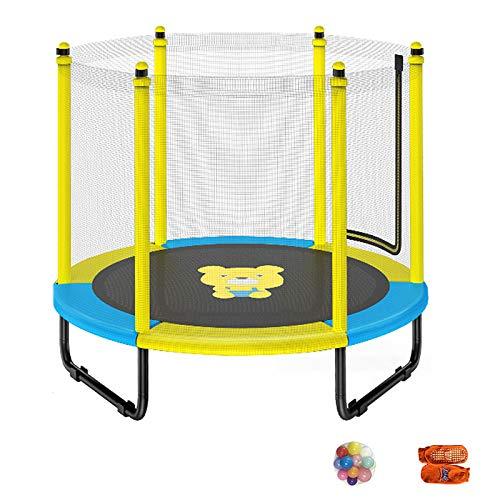 Trampolín para Niños de 5 Pies, Saltar Trampolines Recreativos con Red de Cerramiento de Seguridad, Trampolín Interior al Aire Libre para Niños Pequeños, Adolescentes y Adultos