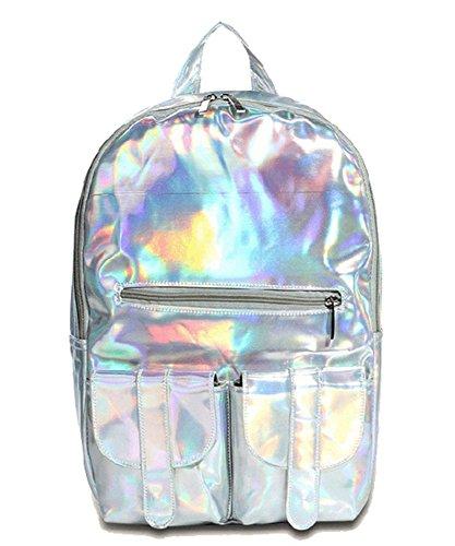 Dayan 2015 neue Schulter Handtasche mit großer Kapazität Computertasche Schultasche Hochschule Wind Harajuku Laser Rucksack Farbe Silber
