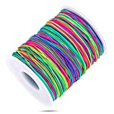 String for Bead Bracelets, Selizo Elastic String Stretch Cord Elastic Bands for Sewing, Bracelets, Necklace, Beading, Jewelry Making and Braided Hair Styling (1 MM, 120 Yards, Rainbow Color)