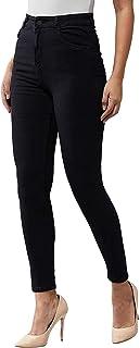 CHANNEL-V High Waist Jeans Single Button Women (Black)