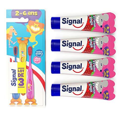 Signal Kit Dentaire pour Enfants 4 Dentifrices Enfants 3-6 ans Fraise Gaga et 3 Brosses à Dents Enfants Manuelles Extra Souple 2-6 ans (Lot de 4 Dentifrices Enfants et 3 Brosses à Dents Enfants)