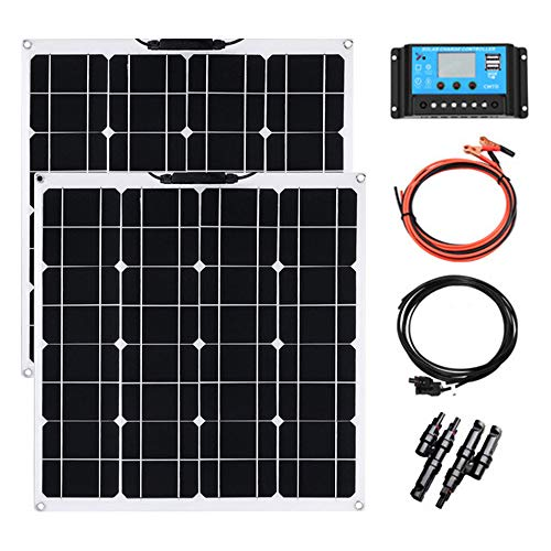 100w Módulo solar kit YUANFENGPOWER 2pcs 12 V 50 W panel solar monocristalino celda solar fotovoltaica cargador solar flexible para batería de coche, caravana, camper, barco, baterías de 12 V