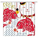Xnichohe Japanese Shower Curtain Bamboo Leaves Red koi Fish Lucky Cat Waves Flower Japan Traditional Art Kids Gift Polyester Cloth Fabric Curtains Decor Set with Free Hooks,70 x70 Inch