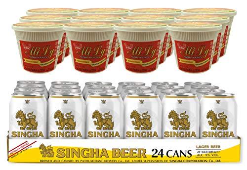 Festival Set - A-One Instant Cup Nudeln Huhn (im praktischen Becher, mit Gabel) + SINGHA Original Thailändisches Dosenbier, 24er Pack