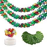 40 piezas de decoración de fiesta de verano 3pzs guirnalda de papel hawaiano 24 hojas de palma artificiales 12 flores de hibisco artificiales decoración de fiesta tropical de Luau suministros de mesa