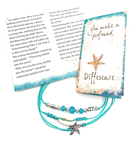 Smiling Wisdom - Starfish Anklet Gift Set - You Make a Profound Difference Appreciation Card - Thank a Friend, Teacher, Volunteer, Caregiver, Teenage Girl - Ankle Bracelet - Turquoise