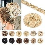 Silk-co Chignon Capelli Veri Remy Messy Hair Updo 32g Extension Chignon Spettinato per Capelli Umani Bun Ponytail Scrunchie - 613 Biondo Sbiancante