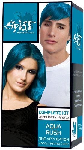 Splat Complete/Semi Permanent Hair Colour Kit Aqua Rush