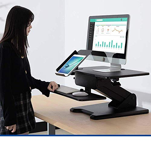 STZYY Laptop desk with side storage shelf,Movable and foldable sitting and standing alternately standing computer lifting table, office notebook workbench-Black 2