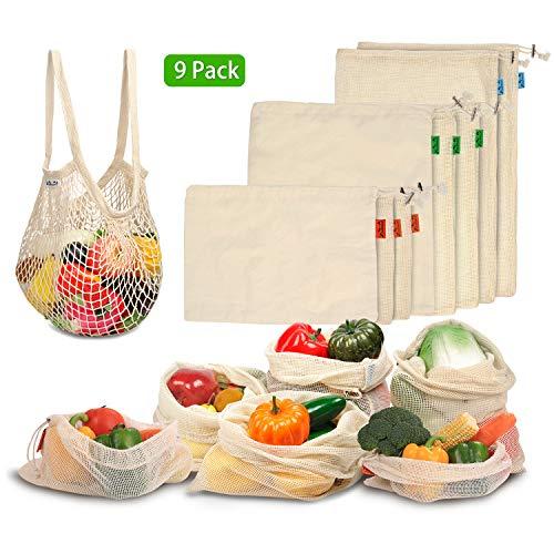 Viedouce Gemüsebeutel Wiederverwendbar,Obst und Gemüsebeutel mit Kordelzug,Bio Baumwolle Einkaufsnetz, Masche Produzieren Taschen,Mehrweg Brotsack Waschbar & Umweltfreundliches (9 Packung)