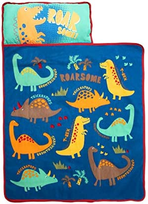 Funhouse Dinosaurs Kids Nap Mat Set Includes Pillow and Fleece Blanket Great for Girls Napping product image